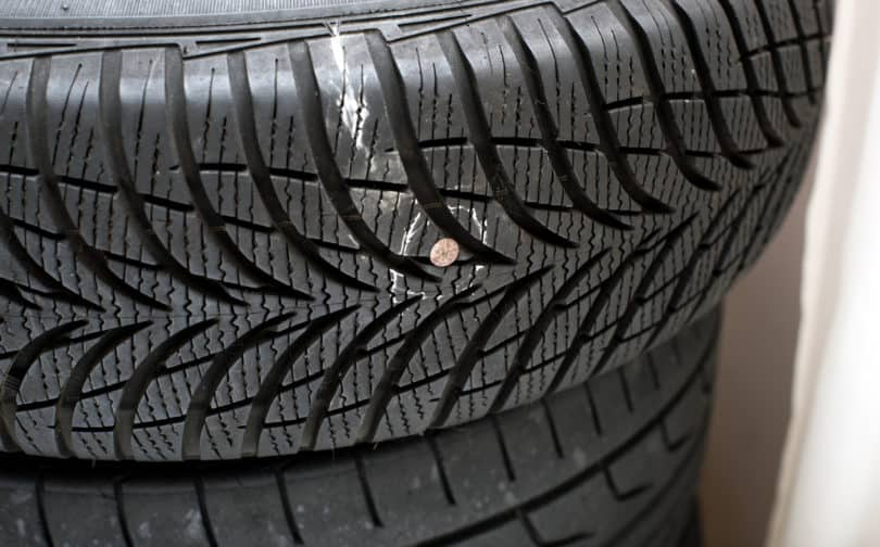 drive with nail in tire