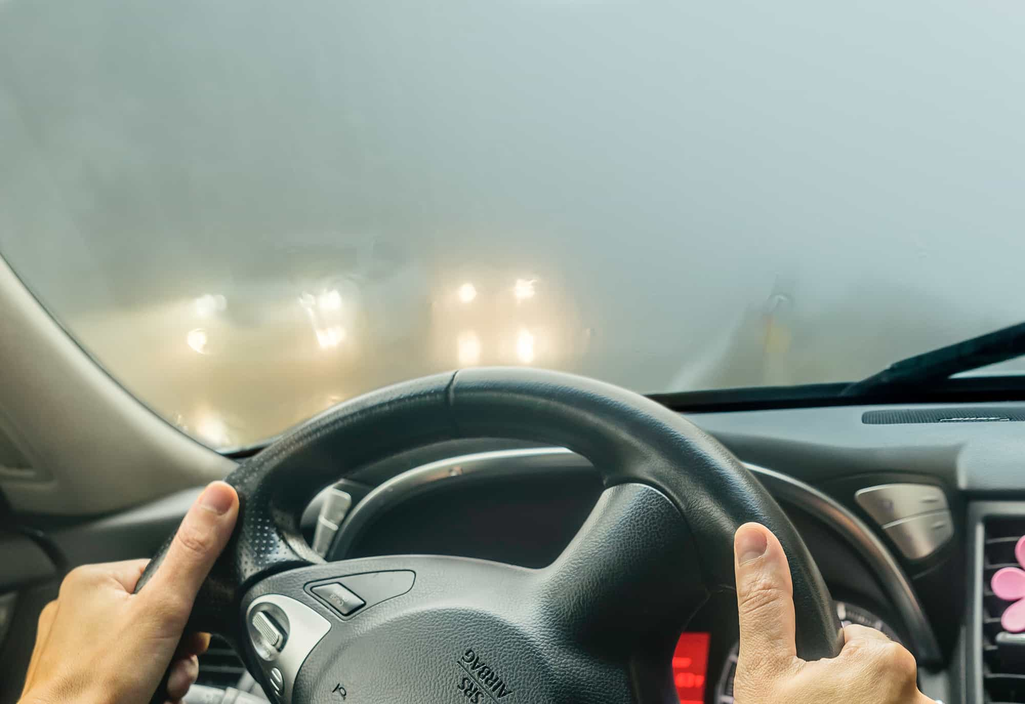view through foggy windshield